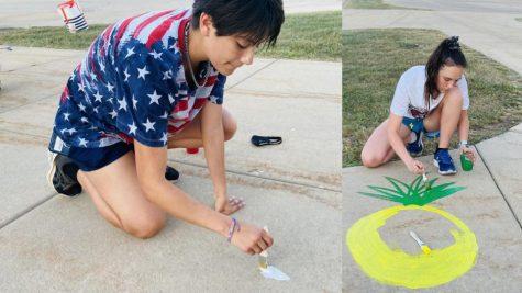 Students Paint the Sidewalks
